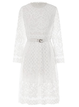 Cotton With Lace Midi Dress
