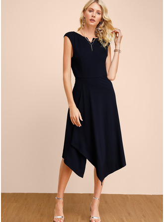 Polyester/Cotton With Solid Midi Dress