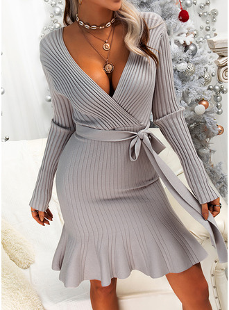 Solid Ribbed V-Neck Long Sleeves Casual Long Sweater Dress Dresses