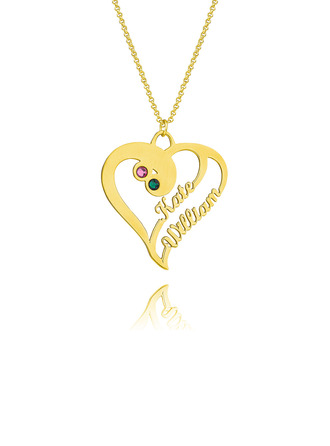 Custom 18k Gold Plated Silver Two Name Necklace Heart Necklace Birthstone Necklace (288219222)-Christmas Gifts