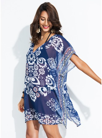 Elegant Floral Polyester Cover-ups Swimsuit