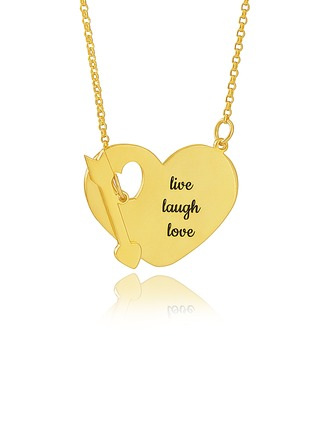 Custom 18k Gold Plated Silver Engraving/Engraved Heart Necklace With Arrow