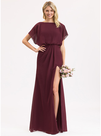 Chiffon Bridesmaid Dress With Ruffle Split Front