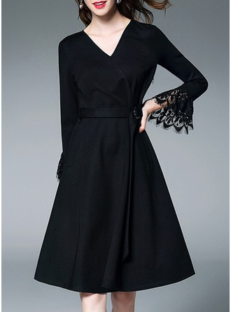 Polyester With Lace/Stitching/Hollow/Crumple/Ruffles Knee Length Dress