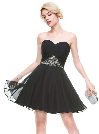 A-Line/Princess Sweetheart Short/Mini Chiffon Cocktail Dress With Ruffle Beading Sequins