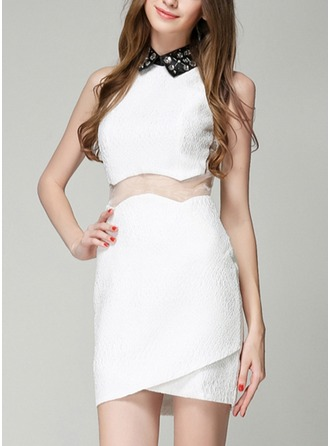 Polyester With Sequins/Stitching/See-through Look Asymmetrical Dress