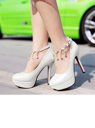 Women's Patent Leather Stiletto Heel Pumps With Rhinestone