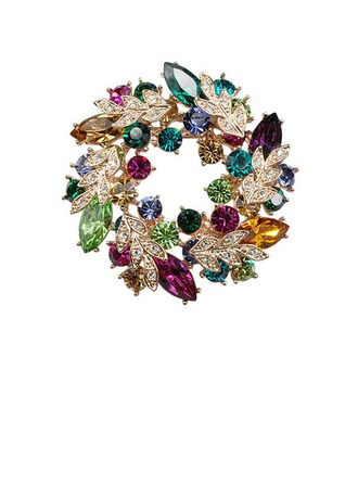 Coloré Alliage/Strass avec Strass Dames Broche