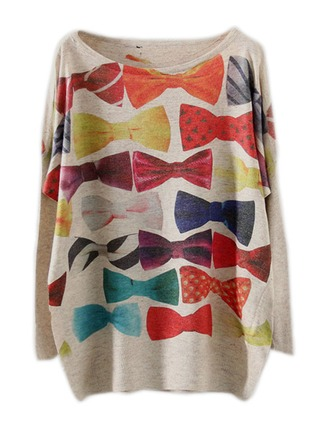 Print Cotton Blends Round Neck Sweater Sweaters