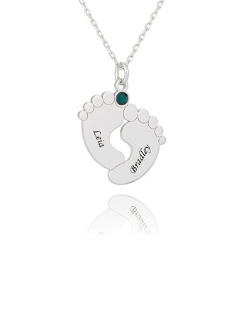 Custom Silver Baby Feet Birthstone Necklace Nameplate - Birthday Gifts Mother's Day Gifts