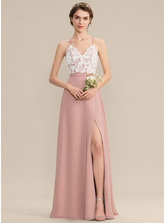 V-neck Floor-Length Chiffon Lace Prom Dresses With Split Front
