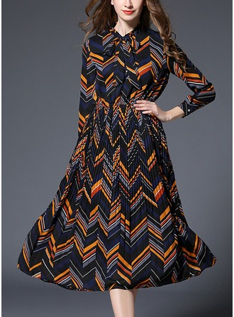 Polyester avec Bowknot/Couture/Froisser Mi-longue Robe