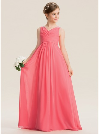 V-neck Floor-Length Chiffon Junior Bridesmaid Dress With Ruffle Beading Sequins