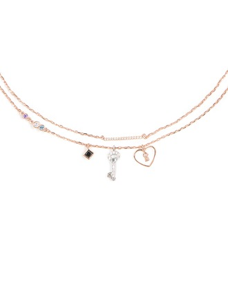 Silver Cubic Zirconia Heart Key Charm Necklace For Women For Girlfriend