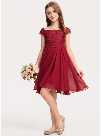 Knee-length Flower Girl Dress - Chiffon Lace Sleeveless Off-the-Shoulder With Bow(s)