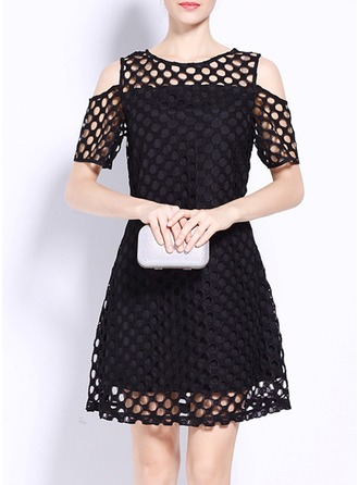 Lace With Stitching/Resin solid color Dress