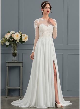 Sweep Train Chiffon Wedding Dress With Appliques Lace Split Front