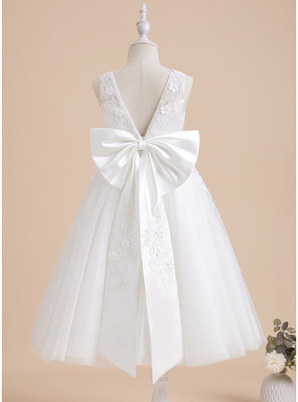Tea-length Flower Girl Dress - Lace Sleeveless With Beading Flower(s) Bow(s)