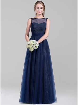 A-Line/Princess Scoop Neck Floor-Length Tulle Bridesmaid Dress
