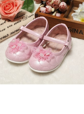 Girl's Leatherette Flat Heel Round Toe Flats With Flower