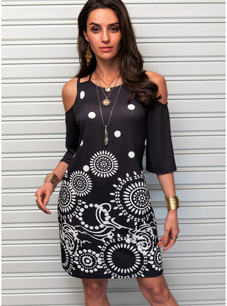 Print Sheath Cold Shoulder 3/4 Sleeves Midi Casual Dresses