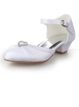 Girl's Closed Toe Satin Low Heel Flower Girl Shoes With Rhinestone