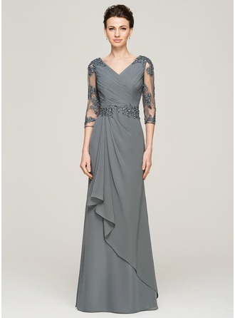 A-Line/Princess V-neck Floor-Length Chiffon Mother of the Bride Dress With Beading Appliques Lace Sequins Cascading Ruffles