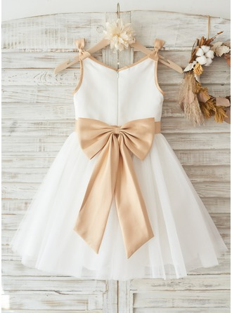 Ivory Satin Tulle Wedding Flower Girl Knee-length Dress with Champagne sash and Bow