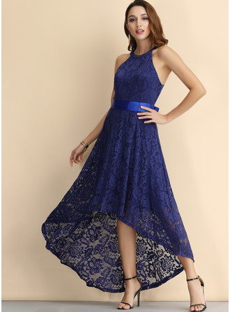 Lace With Lace Asymmetrical Dress