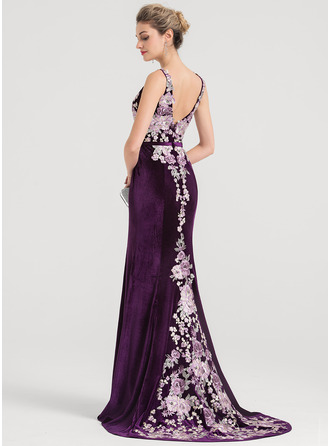 Trumpet/Mermaid V-neck Sweep Train Velvet Evening Dress
