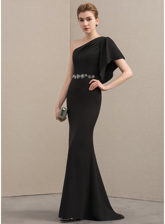Trumpet/Mermaid One-Shoulder Sweep Train Stretch Crepe Evening Dress With Beading Cascading Ruffles