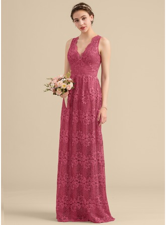 A-Line V-neck Floor-Length Lace Bridesmaid Dress