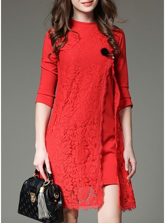 Lace With Stitching Knee Length Dress