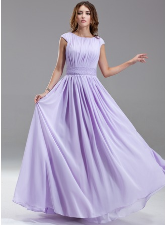 A-Line/Princess Scoop Neck Floor-Length Chiffon Kate Middleton Style With Ruffle Beading