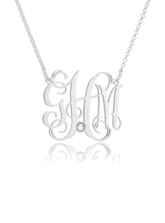 Custom Sterling Silver 3D Birthstone Necklace Monogram Necklace With Birthstone