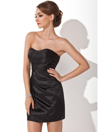 Sheath/Column Sweetheart Short/Mini Charmeuse Cocktail Dress With Ruffle