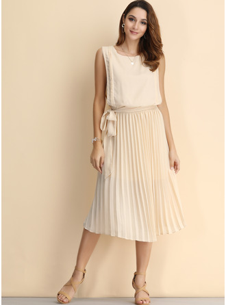 Chiffon With Chiffon Midi Dress