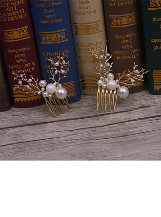 Simple Alloy Combs & Barrettes With Venetian Pearl (Set of 2)