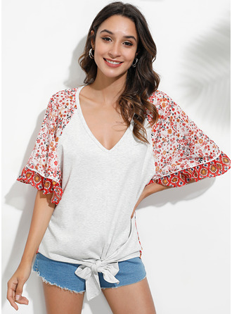 manches 3/4 Manches Chauve-souris Polyester Col V Blouses