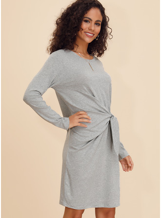 Cotton Blends Above Knee Dress