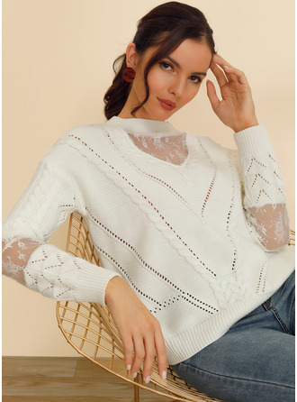 Patchwork Polyester Scoop Neck Pullovers Sweaters