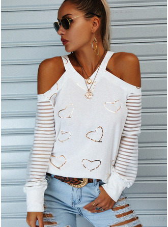 Regular Cotton Blends Cold Shoulder Print Heart Fitted Blouses