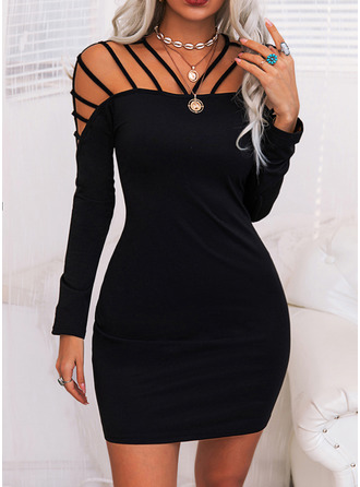Solide Bodycon Lange Mouwen Medium Zwart jurkje Party Sexy ()