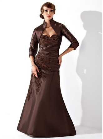 Trumpet/Mermaid Sweetheart Floor-Length Taffeta Mother of the Bride Dress With Ruffle Lace Beading