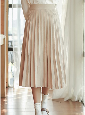 Pleated Skirts Mid-Calf Plain Knitting Skirts