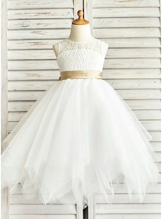 A-Line/Princess Tea-length Flower Girl Dress - Tulle/Lace Sleeveless Jewel With Sash/Back Hole