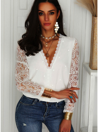 Regular Cotton Blends V-Neck Beaded Lace Solid Fitted Blouses