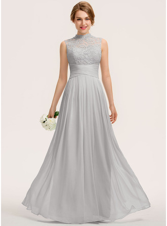 High Neck Floor-Length Chiffon Lace Bridesmaid Dress With Ruffle