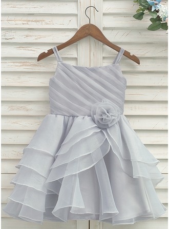 Knee-length Flower Girl Dress - Organza Satin Sleeveless Straps With Pleated
