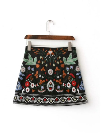 A-Line Skirts Mini Embroidery Polyester Skirts